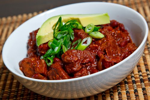 beef texas chili con chile con carne a pot of chili con carne with ...